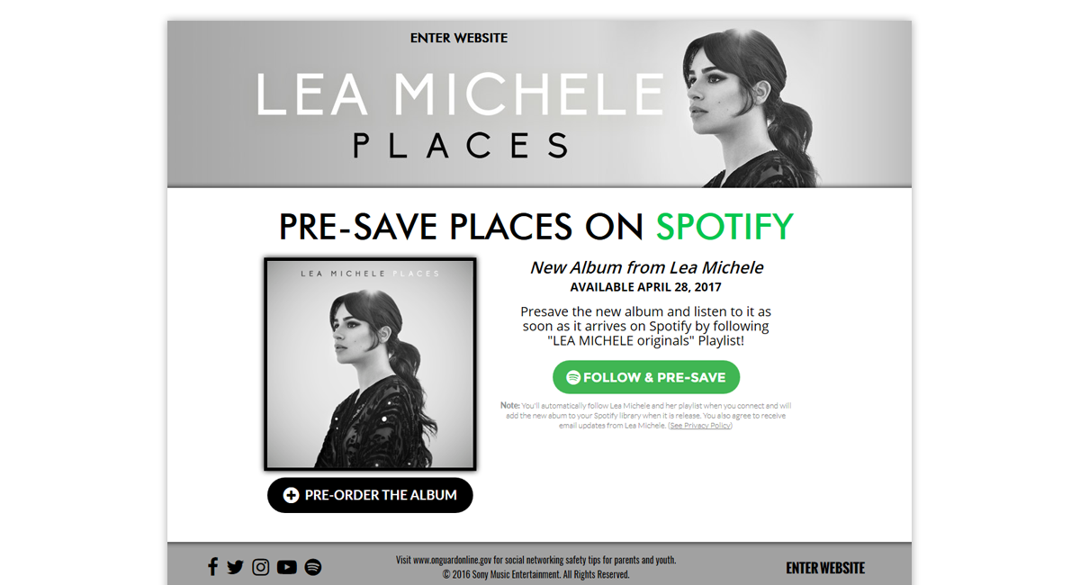 Lea Michele Presave for Spotify
