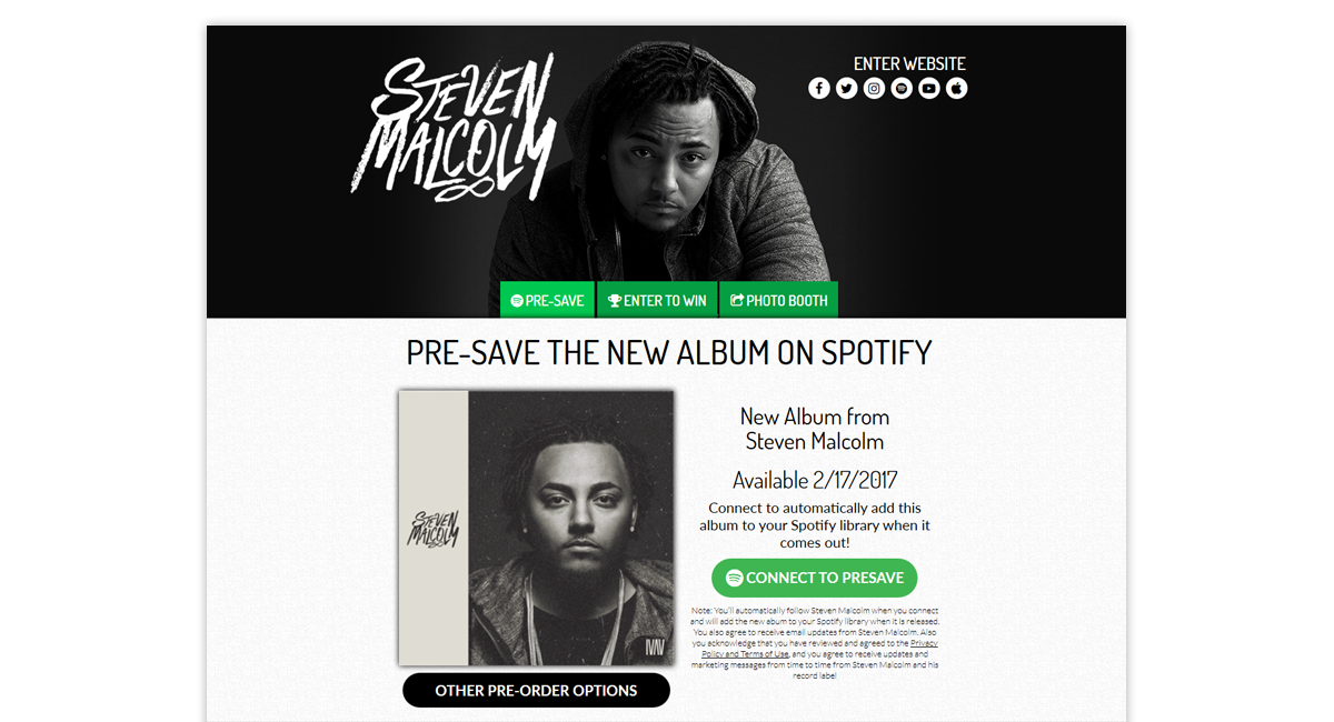 Steven Malcolm Presave for Spotify
