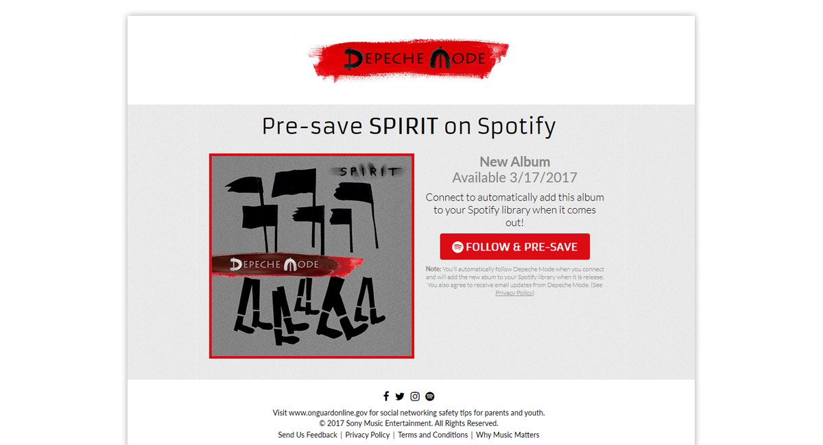 Depeche Mode Spirit Presave for Spotify